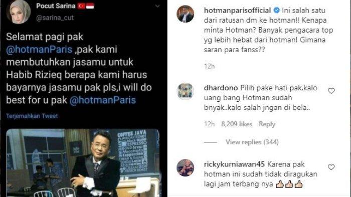 Salah satu warganet siap iuran bayar Hotman Paris Hutapea diminta menjadi pengacara untuk bantu Rizieq Shihab terkait kasus kerumunan pernikahan putrinya di Petamburan November lalu.