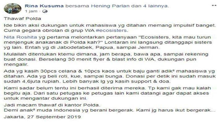 Aksi dukung mahasiswa 'Gerakan Adik Sayang di Polda', Jumat (27/9/2019).