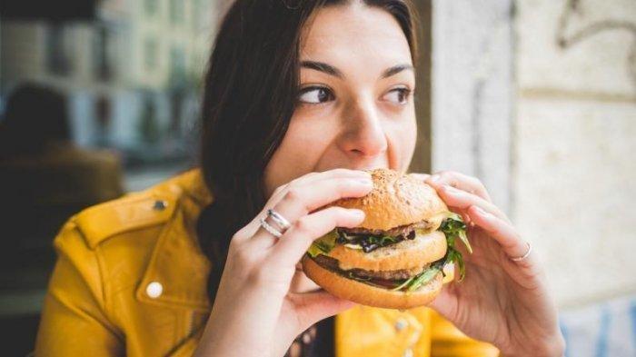 Ilustrasi makan burger