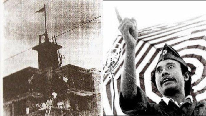 Kolase insiden Hotel Yamato yang menjadi awal Pertempuran 10 November