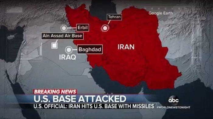 Iran disebut telah meluncurkan beberapa rudal di fasilitas militer Amerika Serikat di Irak pada Rabu (8/1/2020) pagi waktu setempat.