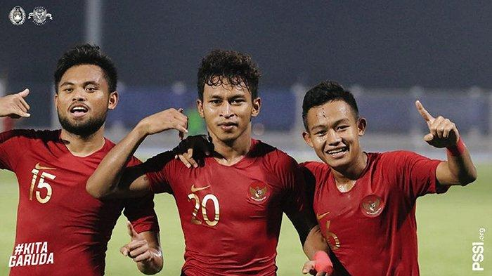 Osvaldo Haay (tengah), penyerang andalan timnas Indonesia di SEA Games 2019.