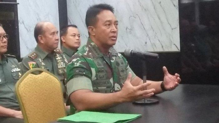 Kepala Staf Angkatan Darat Jenderal TNI Andika Perkasa saat konferensi pers di Markas Besar Angkatan Darat, Jakarta Pusat pada Selasa (13/8/2019).