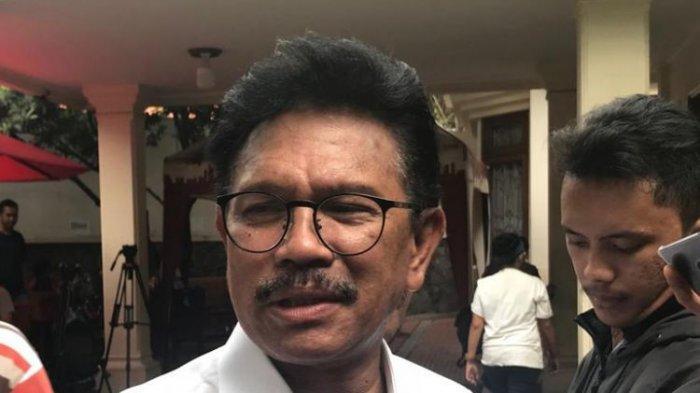 Johnny G Plate, di Posko Cemara, Menteng, Jakarta Pusat, Rabu (19/9/2018). (KOMPAS.com/Devina Halim)