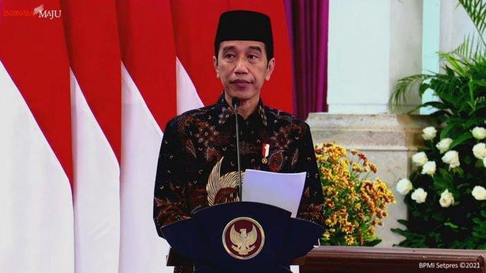 Presiden Jokowi saat meluncurkan PT Bank Syariah Indonesia di Istana Negara, Senin (1/2/2021). (BPMI Setpres 2021)