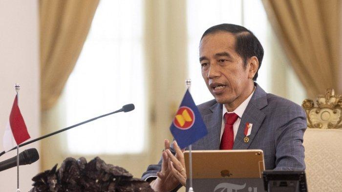 Presiden Joko Widodomenyampaikan pandangannya dalam KTT ASEAN ke-36 yang digelar secara virtual di Istana Bogor, Jawa Barat, Jumat (26/6/2020).