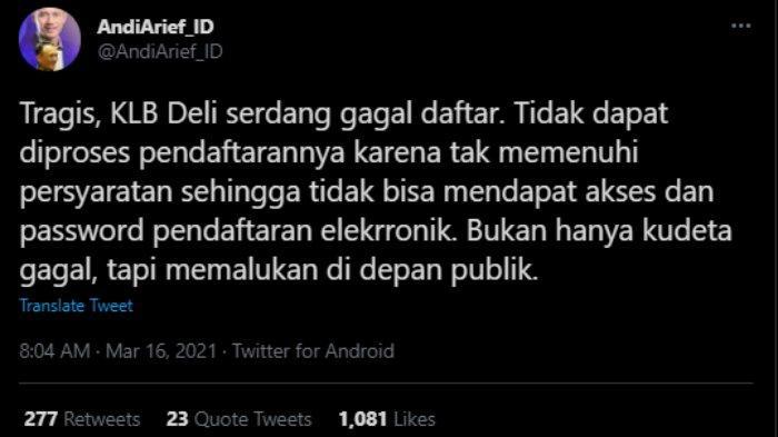 Cuitan Andie Arief yang singgung KLB Deli Serdang gagal