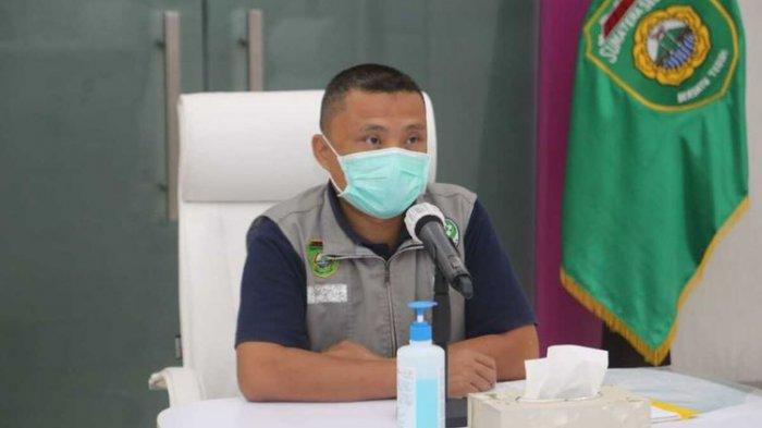 Juru Bicara Gugus Tugas Penanganan Covid-19 Sumatera Selatan Yusri saat menyampaikan perkembangan penyebaran virus corona.(HANDOUT/PEMPROV SUMSEL)