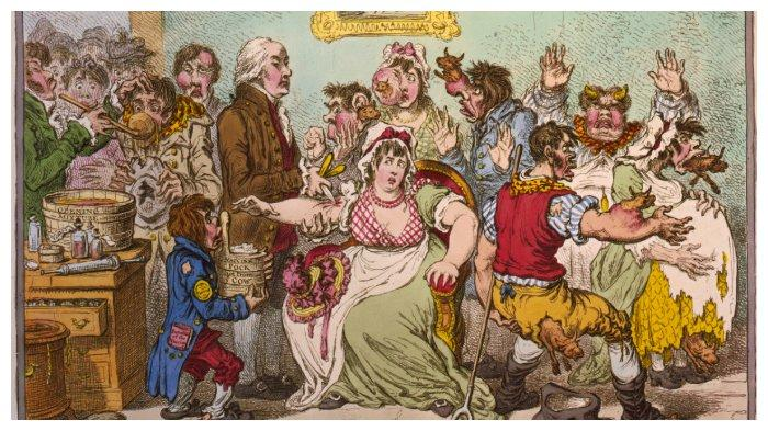 Karikatur Edward Jenner sedang melakukan vaksinasi