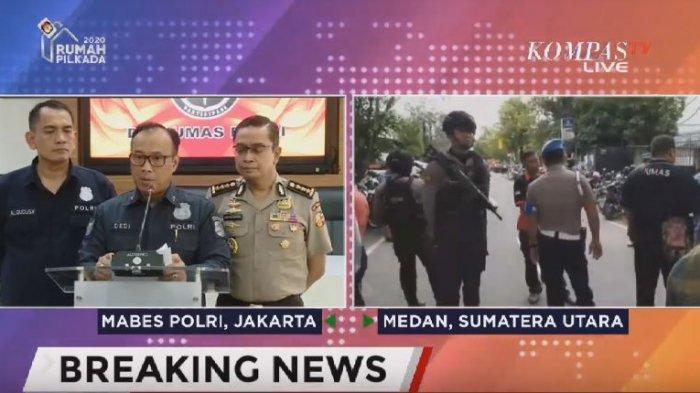 Karopenmas Mabes Polri Brigjend Dedi Prasetyo (tengah) mengatakan bahwa korban terluka hingga saat ini ada enam orang akibat bom bunuh diri di Polrestabes Medan yang dikatakannya saat konferensi pers di Mabel Polri Jakarta, Rabu (13/11/2019) (KompasTV)