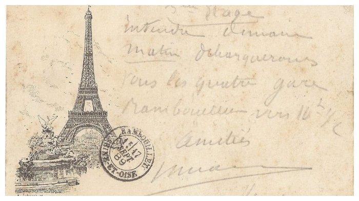 Kartu pos bergambar Menara Eiffel