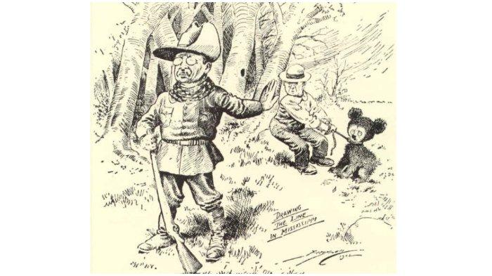 Kartun Presiden Roosevelt menolak menembak beruang.