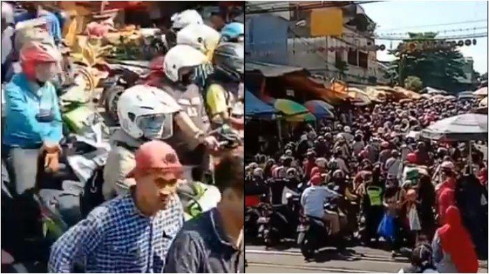Warga Bogor padati jalan sekitar Pasar Anyar hingga buat kemacetan panjang pada Minggu, (17/5/2020).