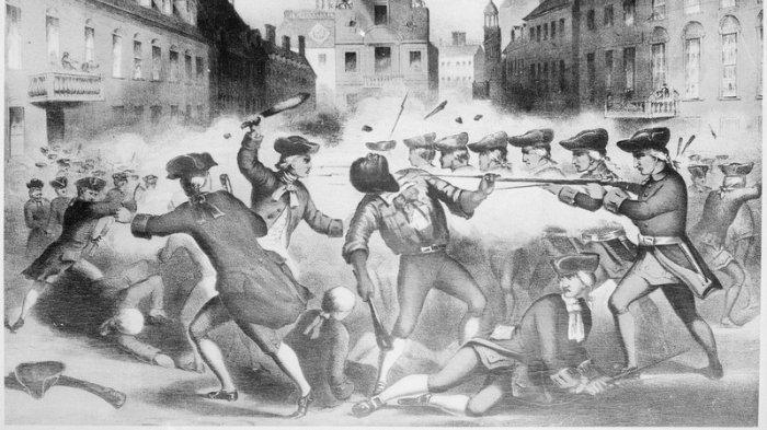 Litografi karya Henry Pelham menggambarkan kerusuhan tentara dan warga sipil di Boston
