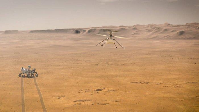 Ketika Helikopter Ingenuity Mars milik NASA mencoba uji terbang pertamanya di Planet Merah, penjelajah Ketekunan Mars 2020 agensi akan dekat, seperti yang terlihat dalam konsep artis ini.