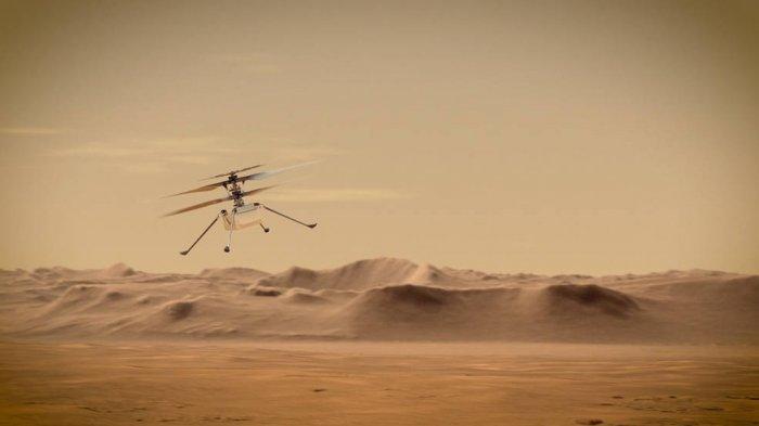 Konsep Helikopter Ingenuity Mars NASA terbang melintasi langit Planet Merah.