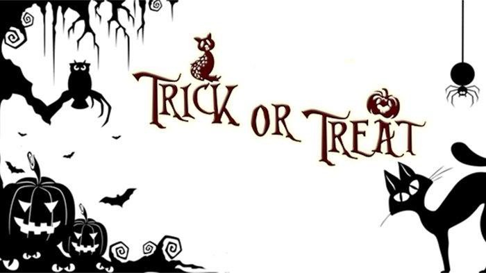 Simbol Halloween yang identik dengan kucing hitam, labu berwajah seram atau Jack O'Lantern, dan suasanya yang menyeramkan.