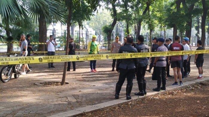Lokasi ledakan di Monas diberi Police Line oleh Polri. (tribunnews.com)