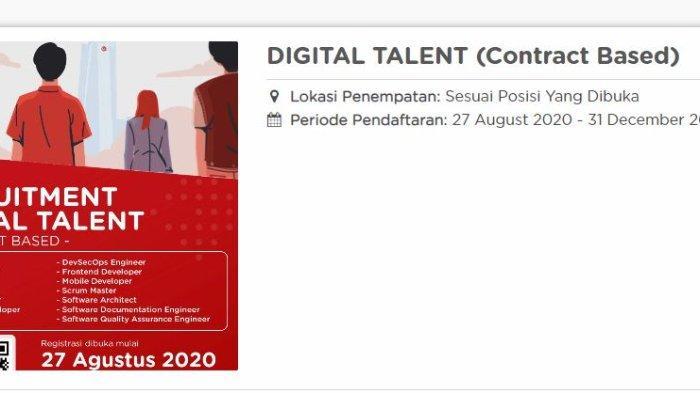 Lowongan kerja Digital Talent 2020 di Telkom Indonesia.