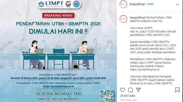 Pendaftaran LTMPT dibuka Senin (15/3/2021) pukul 15.00 WIB