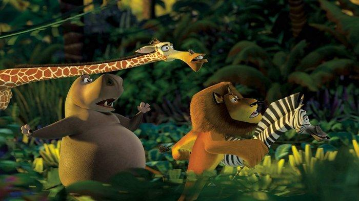 Melman, Gloria, Alex dan Marty di film Madagascar (2005).