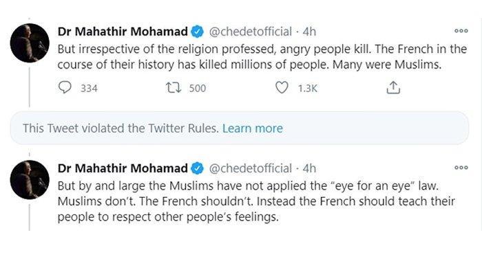 Twitter menghapus postingan paling provokatif Mahathir tentang 'membunuh jutaan orang Prancis'. (DAILY MAIL)