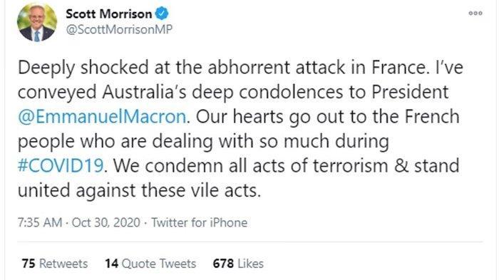 Postingan PM Australia di Twitter: 'Ini adalah tindakan barbarisme yang paling kejam dan pengecut dan kejam oleh seorang teroris, dan harus dikutuk dengan cara yang sekuat mungkin'. (DAILY MAIL)