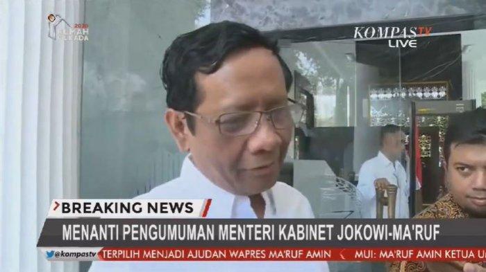 Mahfud MD Tiba di Istana Paling Pertama dengan Kemeja Putih, Ditanya Jadi Menteri, Ini Jawaban Mahfud (KompasTv)