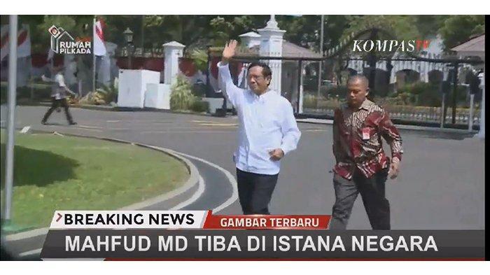 Mahfud MD Tiba di Istana Paling Pertama dengan Kemeja Putih, Ditanya Jadi Menteri, Ini Jawaban Mahfud