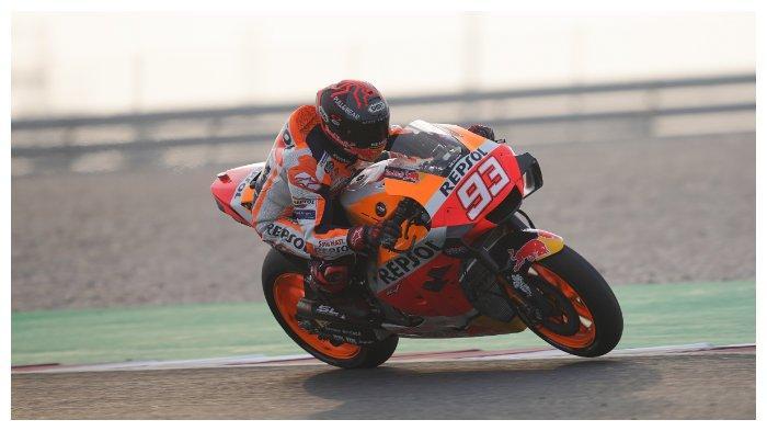 Marc Marquez pada tes pramusim MotoGP 2020 di Sirkuit Qatar hari kedua (23/02/2020)