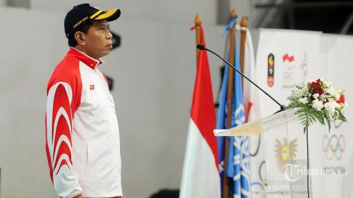 Menteri Pemuda dan Olahraga (Menpora) Zainudin Amali resmi mengukuhkan Kontingen Indonesia yang bakal berlaga pada SEA Games 2019 Filipina di Hall Basket Gelora Bung Karno, Senayan, Jakarta Pusat, Rabu (27/11/2019).