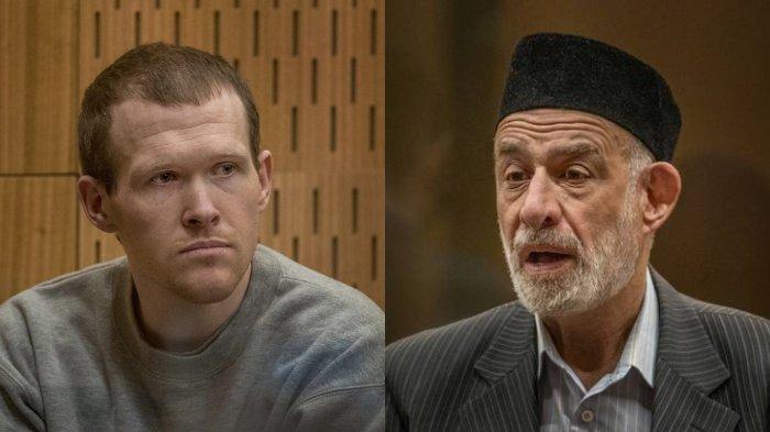 FOTO: Mohammad Atta Ahmad Alayan (kanan) berbicara dampak yang ia rasakan atas serangan yang menewaskan 51 orang di masjid Selandia Baru oleh terdakwa Brenton Tarrant (kiri).