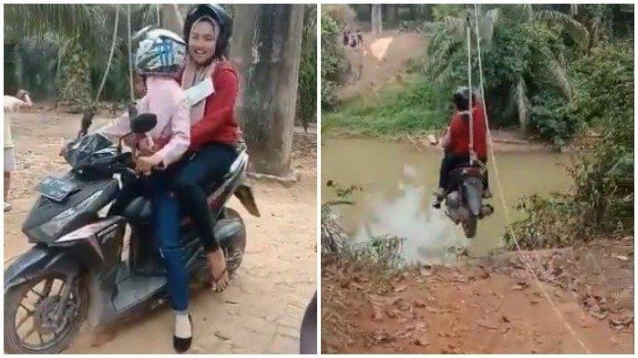 Sebuah video yang memperlihatkan pengendara sepeda motor menyeberangi sungai pakai tali ala flying fox, viral di media sosial. Ini kata Polri. (TWITTER.COM/@Karolina_bee11)