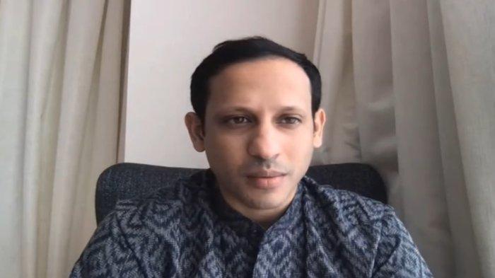 Mendikbud, Nadiem Makarim saat peluncuran Merdeka Belajar Episode 5 : Guru Penggerak melalui virtual zoom webinar yang disiarkan secara langsung pada kanal Youtube Kemendikbud RI, Jumat (03/07/2020).