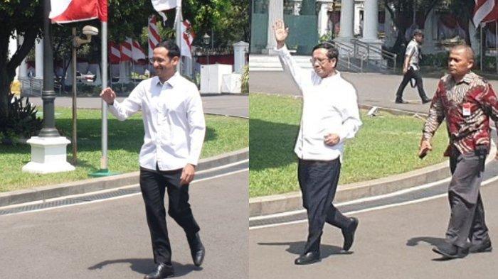 Nadiem Makarim dan Mahfud MD setelah dipanggil Jokowi di Istana Kepresidenan, Senin (21/10/2019).