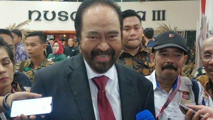 Ketua Umum Partai Nasdem Surya Paloh saat ditemui seusai pelantikan di Kompleks Parlemen, Senayan, Jakarta, Minggu (20/10/2019).(KOMPAS.com/KRISTIAN ERDIANTO)