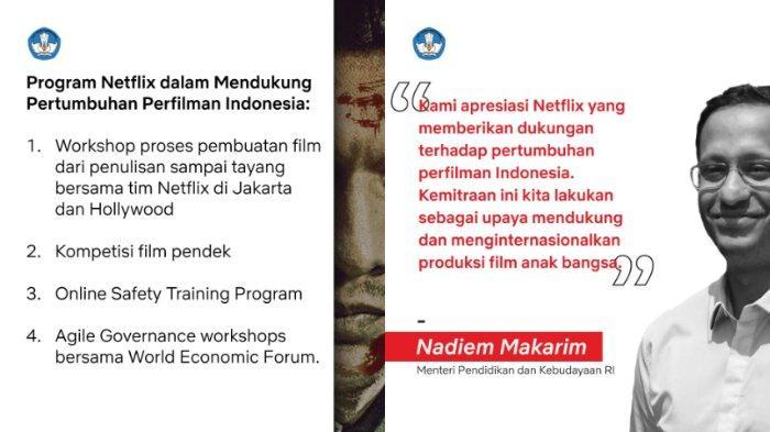 Hari Kamis (9/1/2020) akhirnya Netflix berhasil menjalin kerja sama dengan Kementerian Pendidikan dan Kebudayaan (Kemendikbud) untuk mengembangkan beberapa program perfilman Indonesia.