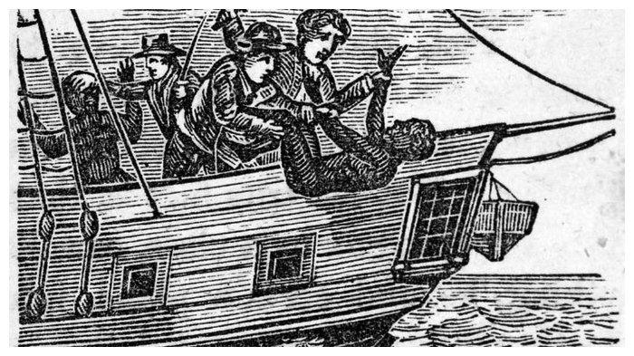 Para budak dilempar dari kapal Zong ke laut