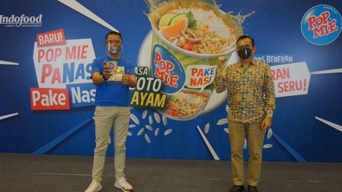 ISTIMEWA Vemri Veradi Junaidi, Senior Brand Manager Pop Mie, Indofood CBP, dan Prof. Dr. Ir. Hardinsyah, MS, Ketua Umum Perhimpunan Pakar Gizi dan Pangan Indonesia (PERGIZI PANGAN) pada peluncuran Pop Mie PaNas 'Pake Nasi', Selasa (2/11/2020).