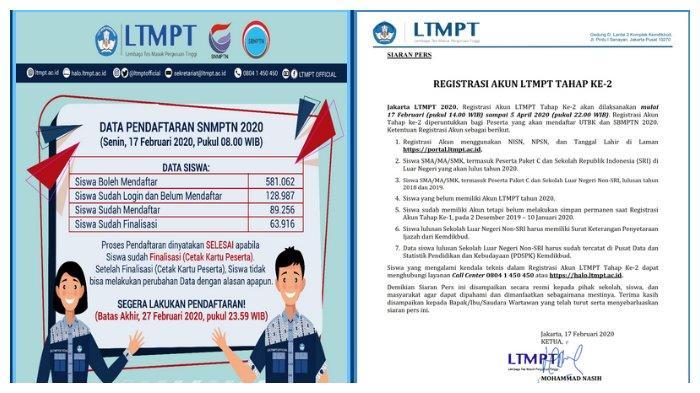 Pembukaan registrasi kaun LTMPT, untuk daftar UTBK, syarat SBMPTN