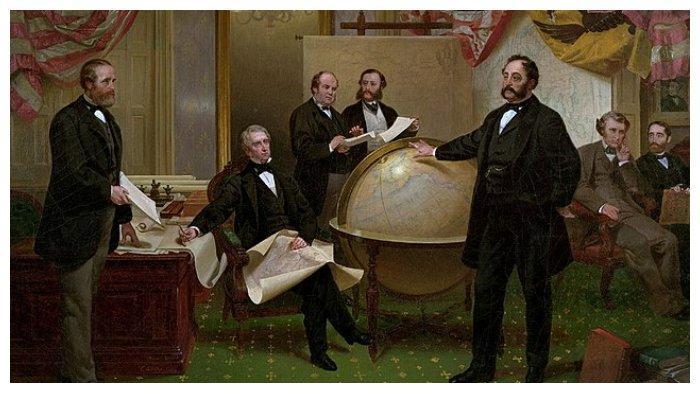 Penandatanganan Perjanjian Penyerahan Alaska pada 30 Maret 1867