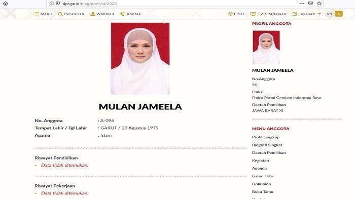 Profil Mulan Jameela di laman resmi DPR sebelum diupdate