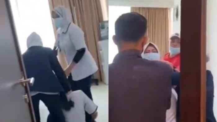 Tangkapan layar video saat perawat dipukuli ayah pasien di RS Siloam.