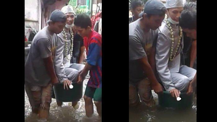 Pengantin yang videonya viral saat menerobos banjir diantar warga pakai bak bayi mengaku sempat takut jadi bahan ledekan.