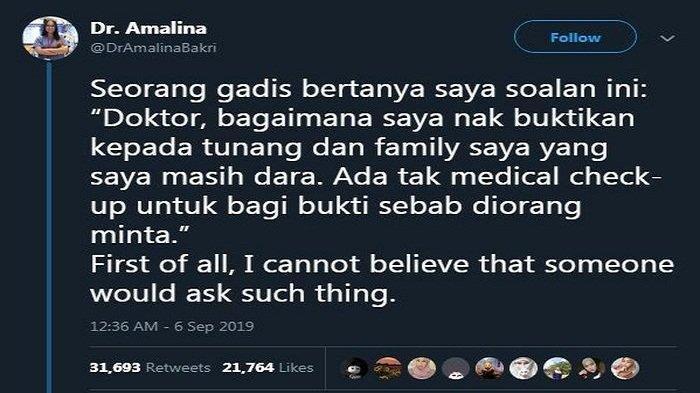Penjelasan Wanita Ini Dimintai Bukti Bahwa Dirinya Masih Perawan oleh Keluarga Calon Mempelai (Twitter/ DrAmalinaBakri)