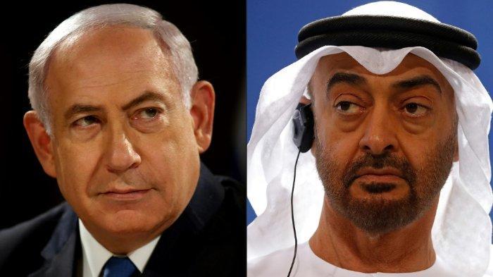 KOLASE FOTO: Foto 28 Mei 2017, Perdana Menteri Israel Benjamin Netanyahu (kiri) di Yerusalem dan foto pada 12 Juni 2019, Putra Mahkota Abu Dhabi Mohammed bin Zayed di Berlin. Israel dan UEA sepakat untuk menormalisasi hubungan diplomatik dengan dimediasi oleh AS. Negara Yahudi tersebut setuju untuk menghentikan aneksasi di wilayah Palestina.