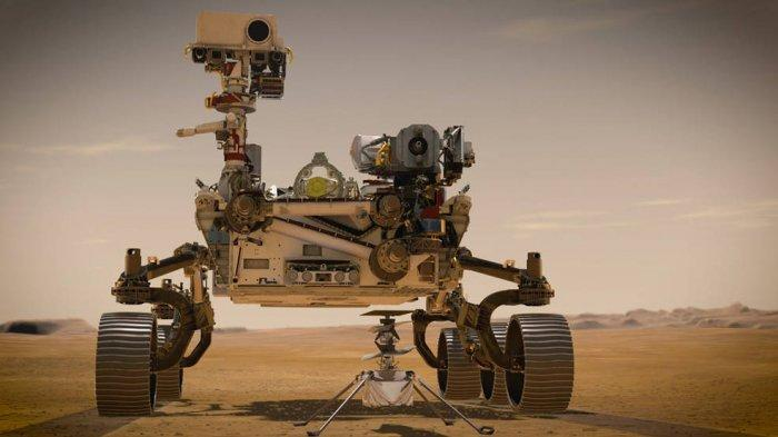 Pada bulan Februari 2021, NASA Mars 2020 Perseverance dan Helikopter Ingenuity NASA (ditampilkan dalam konsep seniman) akan menjadi dua penjelajah terbaru agensi di Mars. Keduanya dinamai oleh siswa sebagai bagian dari kontes esai.