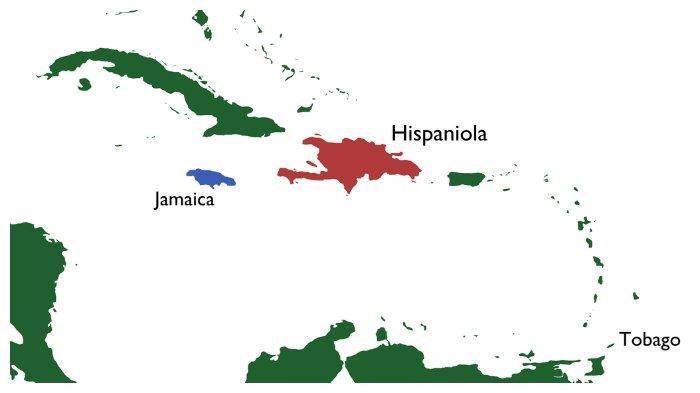 Peta Jamaica, tujuan kapal Zong