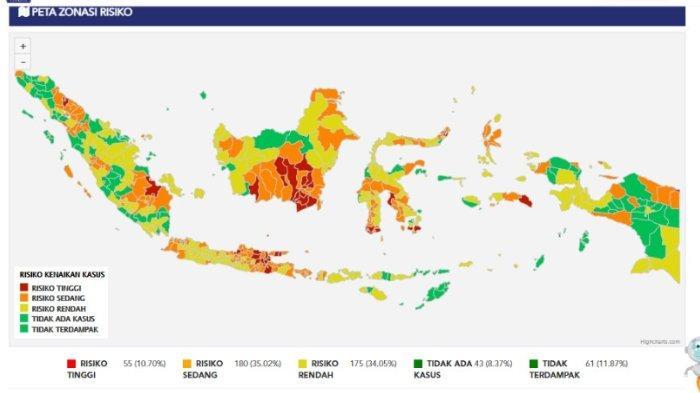 Peta Zonasi Risiko kasus Covid-19 Indonesia per Kamis (9/7/2020).(covid19.go.id)