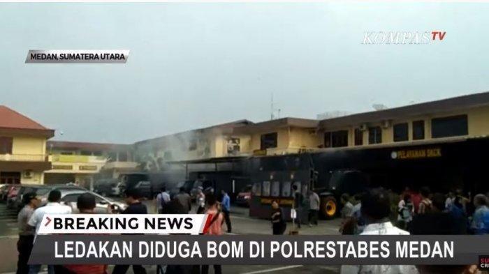 Ledakan bom bunuh diri terjadi di Markas Polrestabes (Mapolrestabes) Medan, Rabu (13/11/2019) Pukul 08.30 WIB.